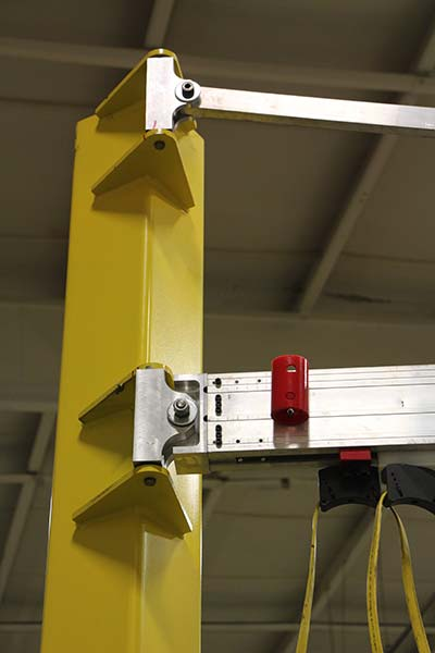 G-rail Jib Crane softstops at end of rotation by Givens Engineering Inc. manufactured in Canada.