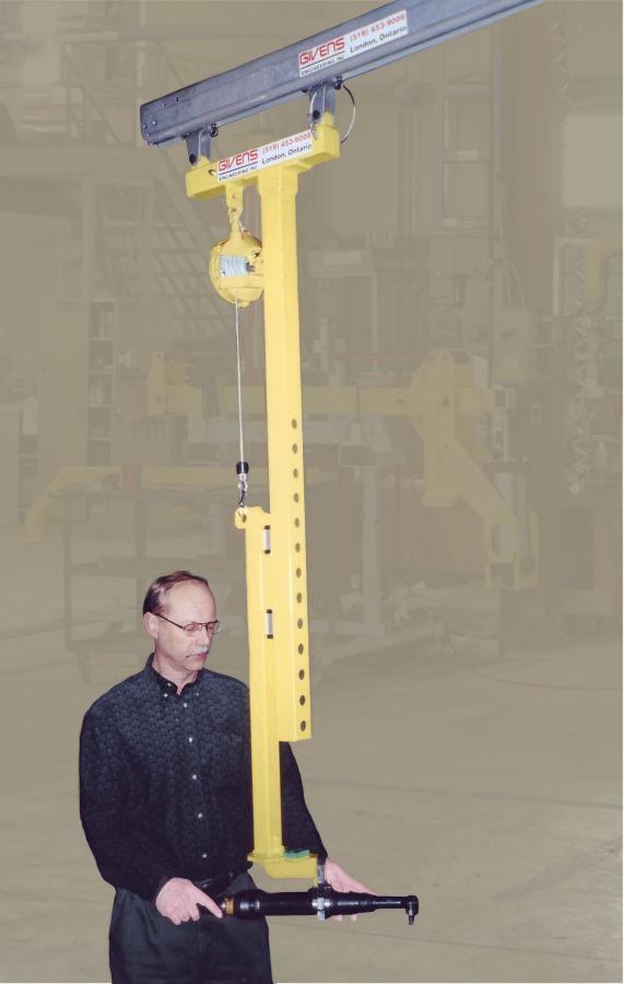 A STD-TT Torque Tube hung from a crane monorail
