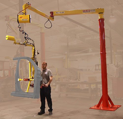 AJ60 Articulated Jib Crane equipped with air balancer and end effector for auto side bodies manufactured by Givens Engineering Inc. in Canada.