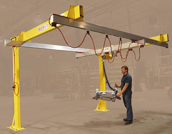 Cantilevered C250 G-Rail bridge crane without trusses by Givens Engineering Inc. manufactured in Canada.