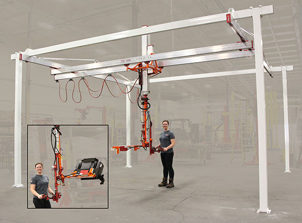 grail bridge crane slide column with end effector
