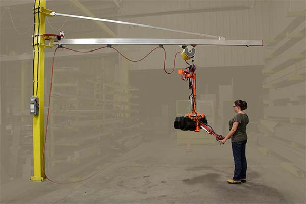 Minimum weight J100 jib cranes - all-aluminum rail, diagonal and trolley by Givens Engineering Inc. manufactured in Canada.