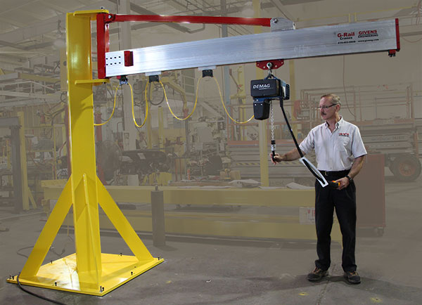 J1000 jib cranes - low-headroom design by Givens Engineering Inc. manufactured in Canada.