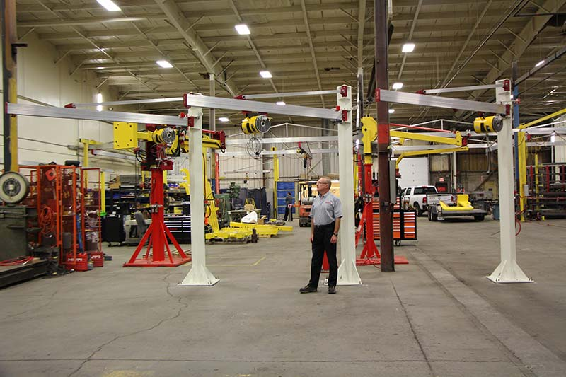 3 J250 jib cranes with balancers for lifting brake rotors by Givens Engineering Inc. manufactured in Canada.