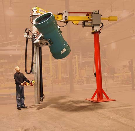 industrial manipulator specially mounted on an extra-tall column